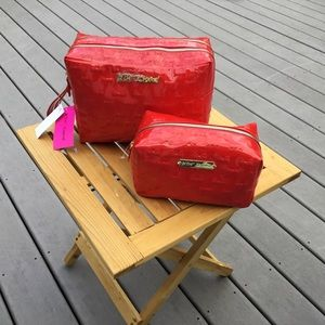 Betsey Johnson Red Patent  Cosmetic Set